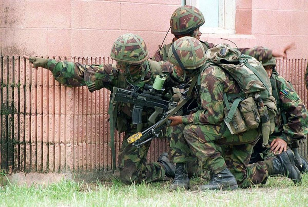 Gurkhas during a military exercise.