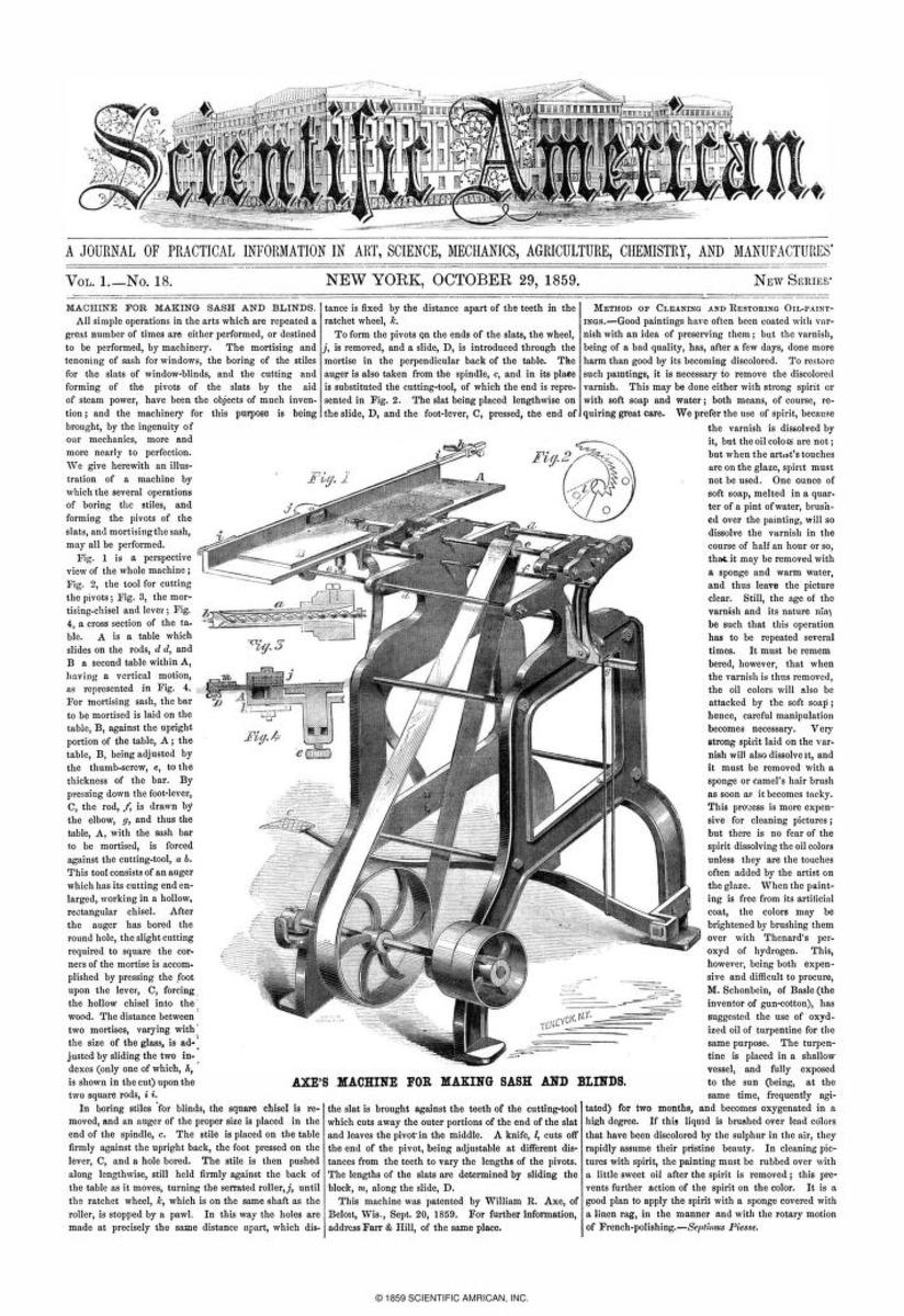 Cover of Scientific American Magazine, Oct 29, 1859