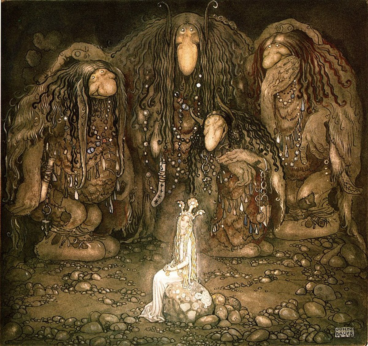 "from John Bauer, 1915 for the book by  Walter Stenström ""The Boy and the Trolls."""