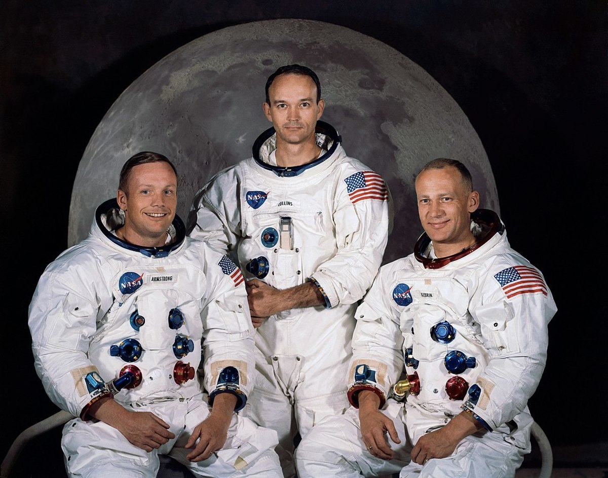 The Apollo 11 lunar landing mission crew, pictured from left to right, Neil A. Armstrong, commander; Michael Collins, command module pilot; and Edwin E. Aldrin Jr., lunar module pilot.