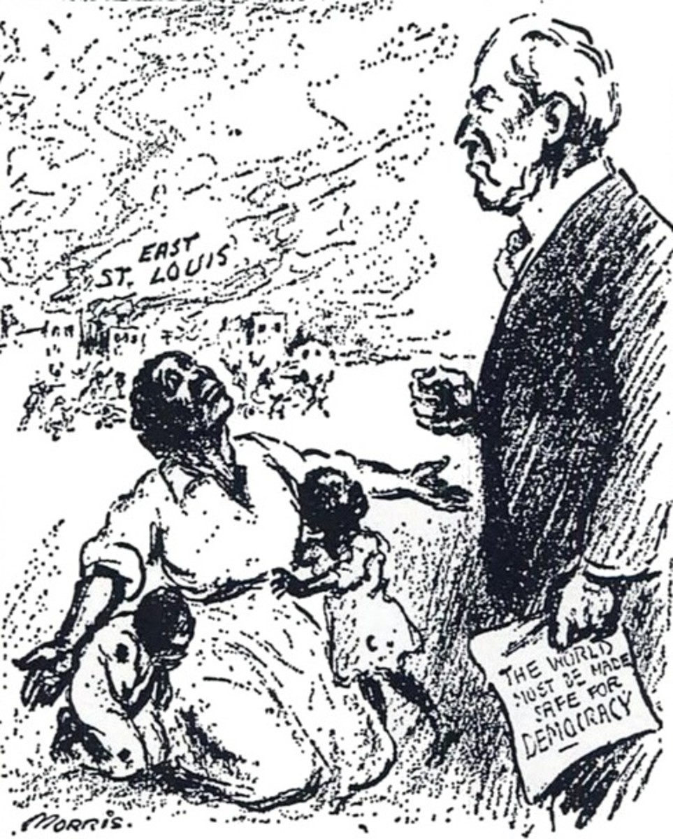 "Following a massacre of blacks in East St. Louis in 1917 a woman pleads with Woodrow Wilson ""Mr. President, why not make America safe for democracy?"""