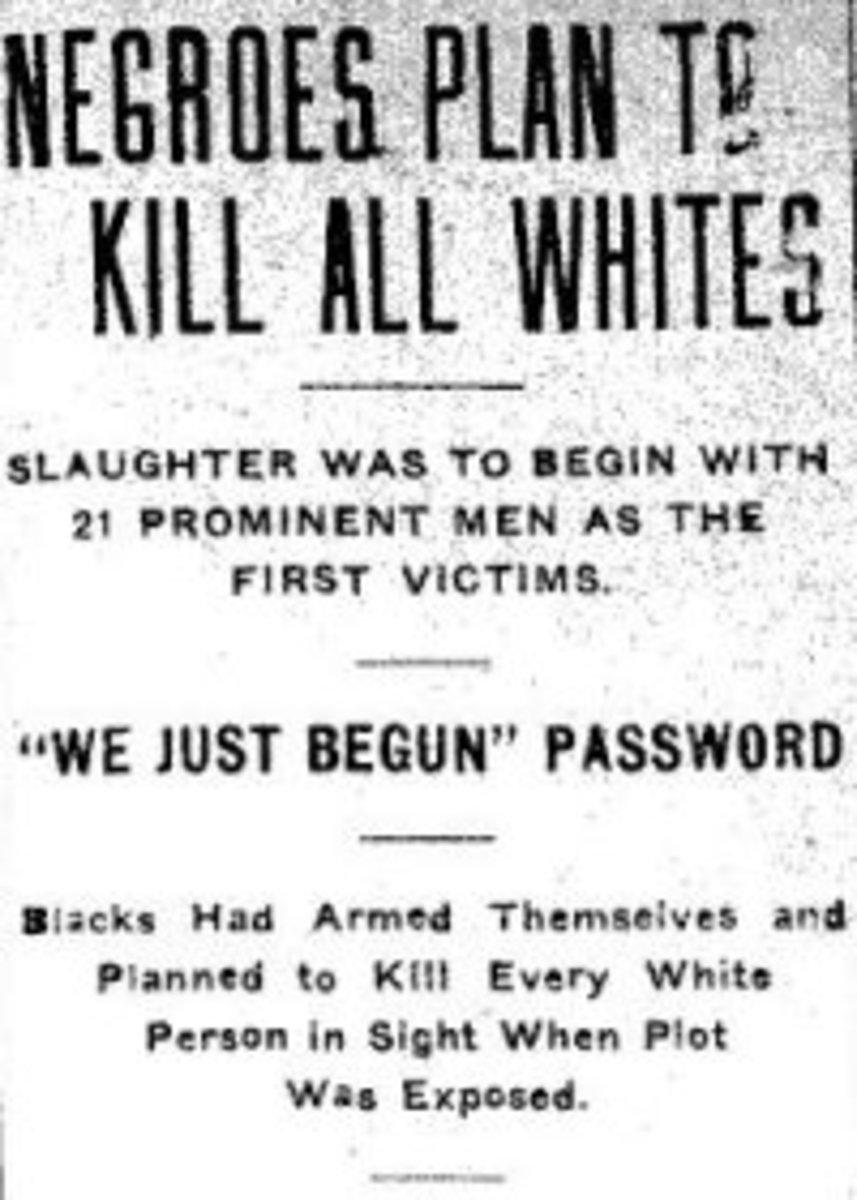 Inflammatory headline in The Gazette (Arkansas) from October 3, 1919.