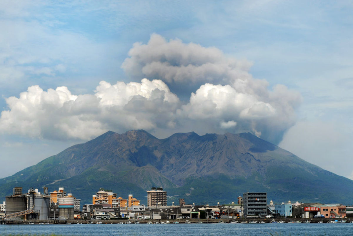 The Sakurajima volcano sits at the edge of the Aira caldera, just across the bay from the city of Kagoshima in Japan. This volcano is potentially one of the most dangerous on the planet.