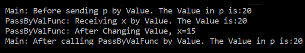 Standard Types - Pass By Value Output