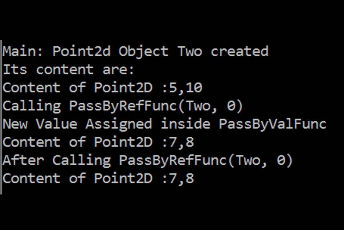 Reference Types Pass-By-Reference Output 1