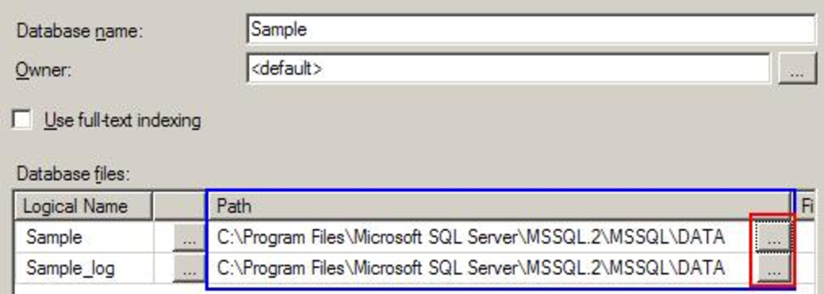 SQL 2005 MGMT Studio- Database File Locations (MDF and LDF)