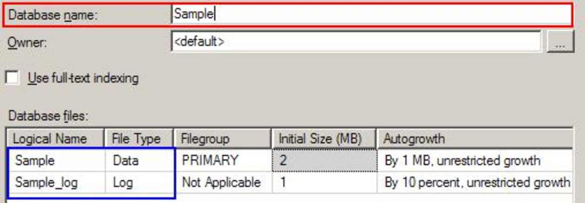 SQL 2005 MGMT Studio: New Database DB Files