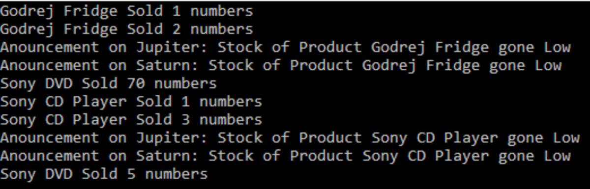 C# Code Output - Custom Events
