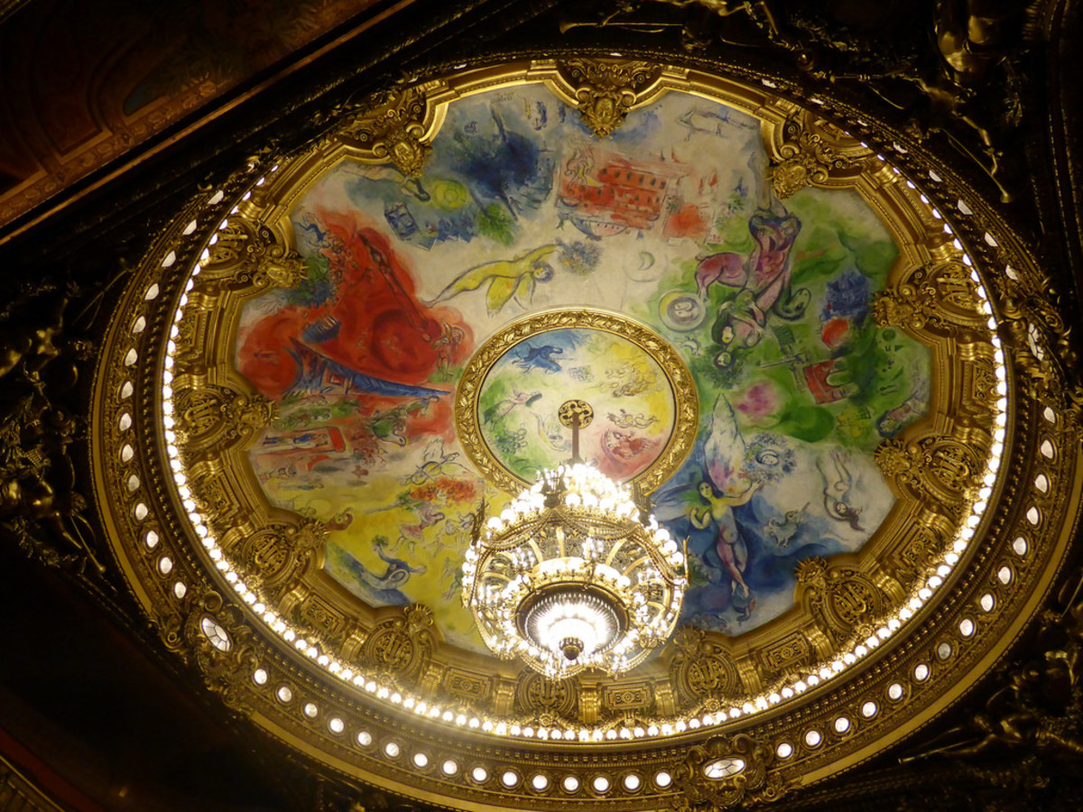 The Chandelier hangs as an ornament in the auditorium of the Opera Garnier.