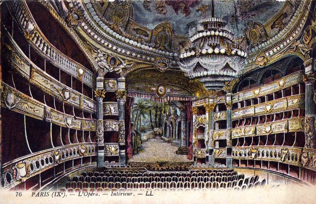 A painting of the auditorium at the Palais Garnier.