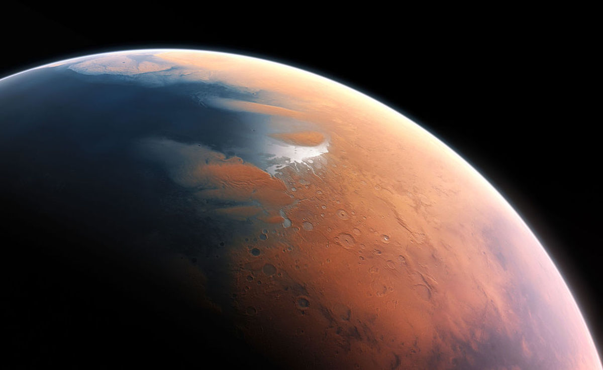 Artist depiction of the Martian surface, billions of years ago.