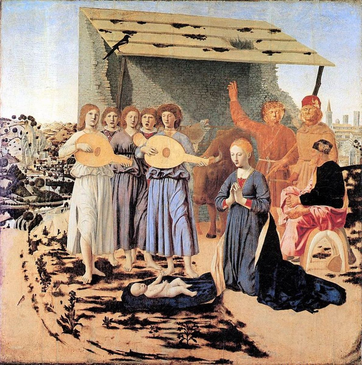 Piero della Fransceca's Nativity shows a lone magpie on the roof; a presage of sorrow to come.