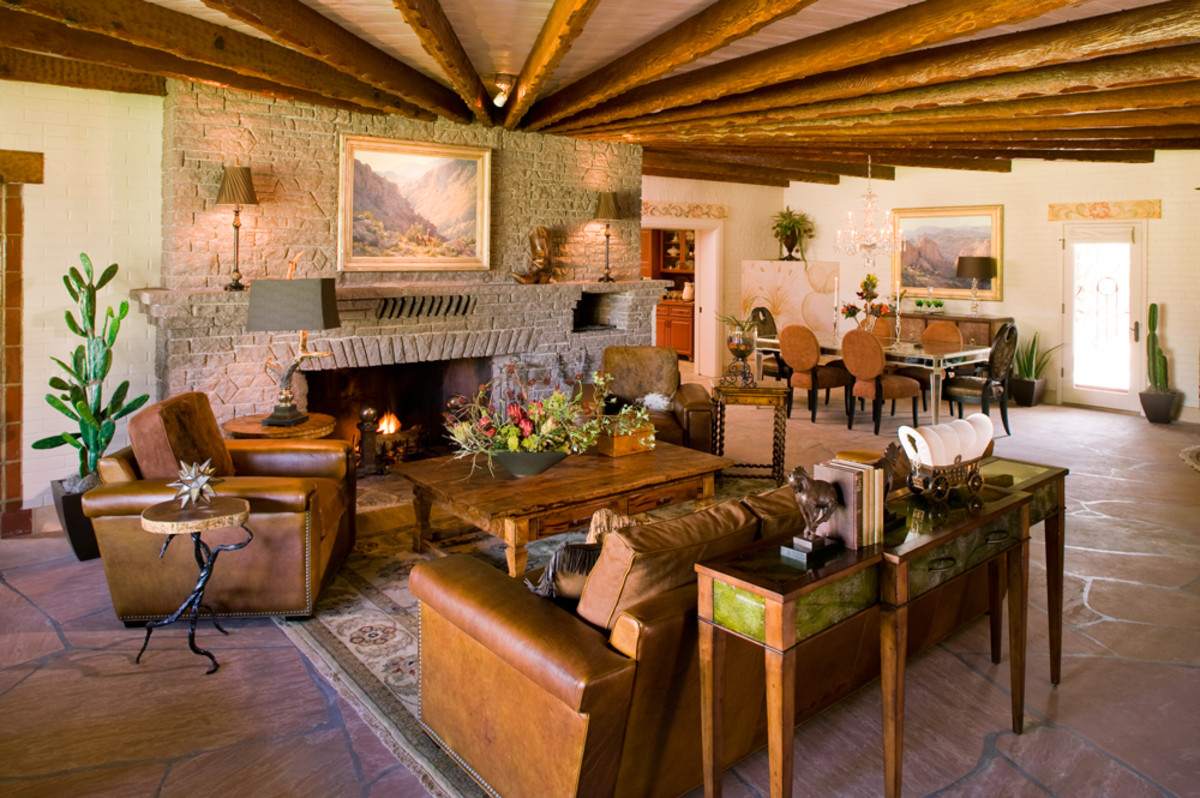 Southwestern furnishings featured weathered pine furniture, native textiles and leather upholstery.