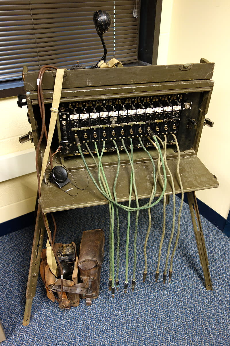 A antique telephone switchboard