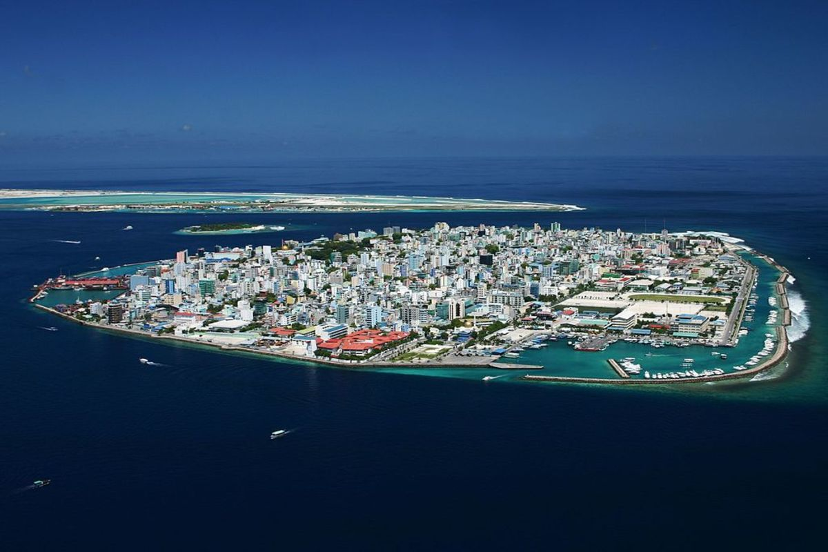 Malé, capital of Maldives, is now completely built over. The Maldives are all coral islands