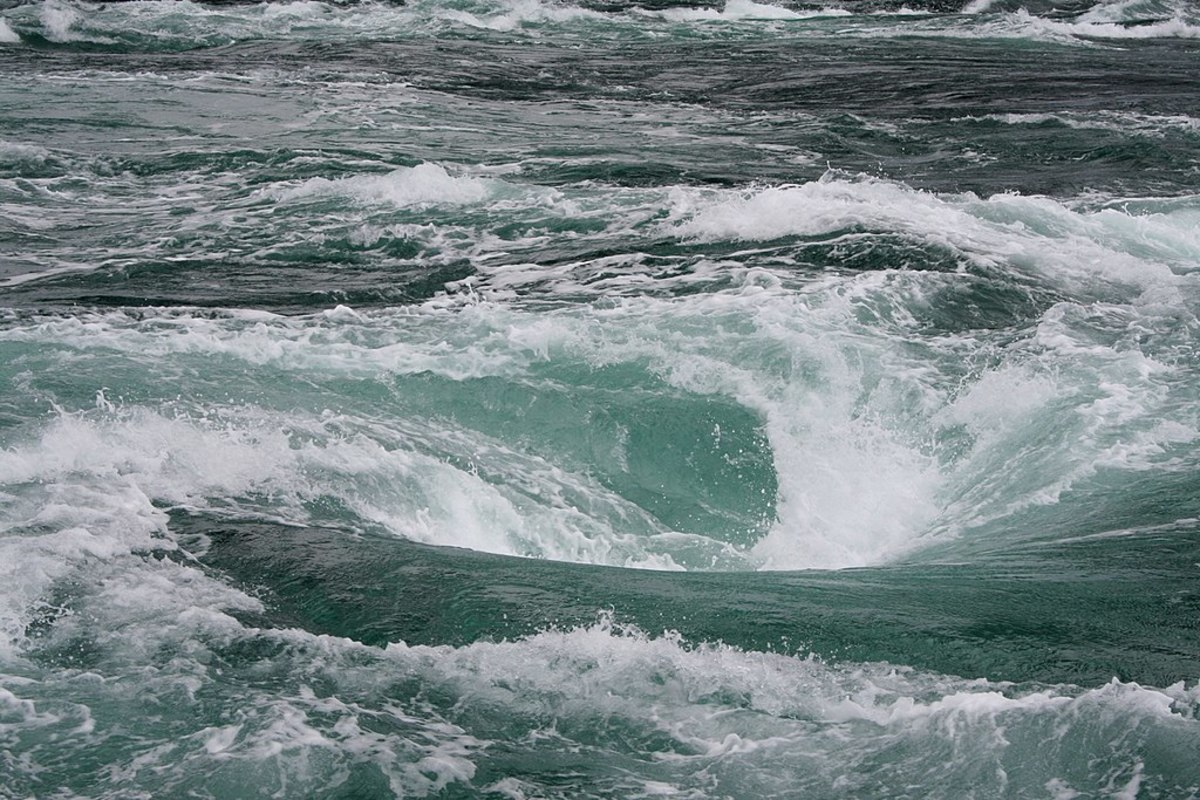 A photograph of the Naruto ocean whirlpool taken from a boat