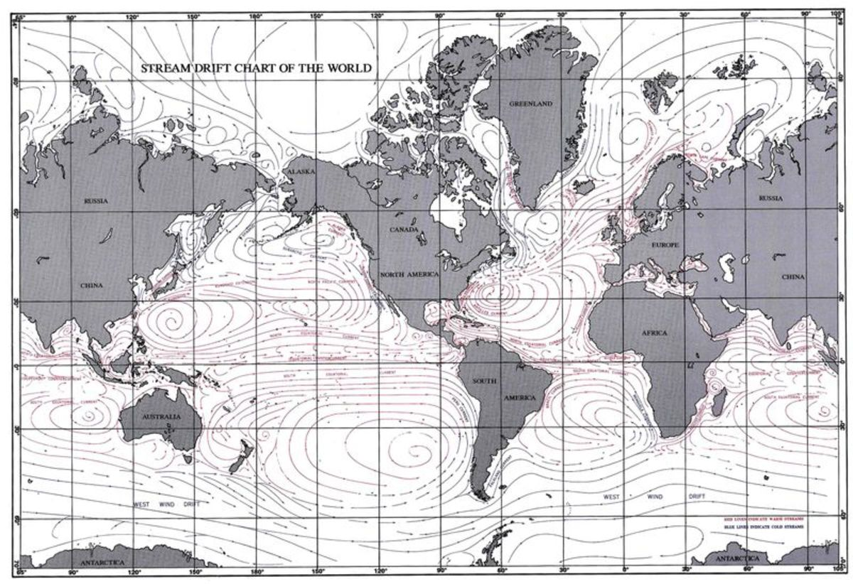 A map showing the ocean currents