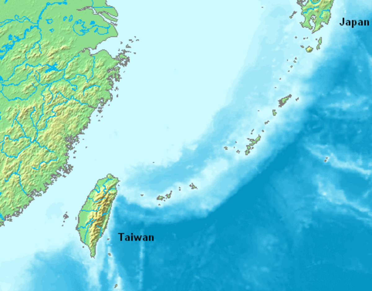 The Ryuku islands between Japan and Taiwan are a typical island arc formation arising along the line of a subduction zone