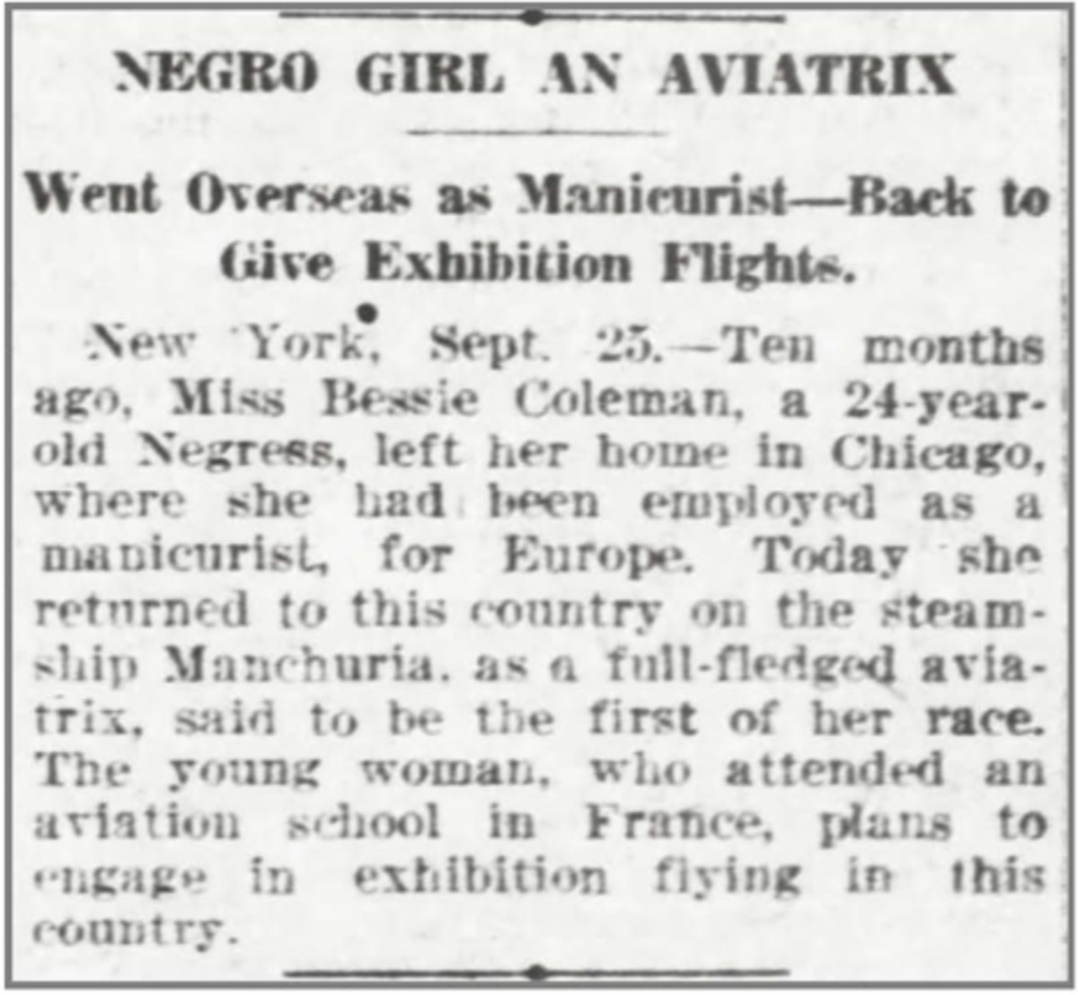Newspaper article about Bessie Coleman getting pilot's license