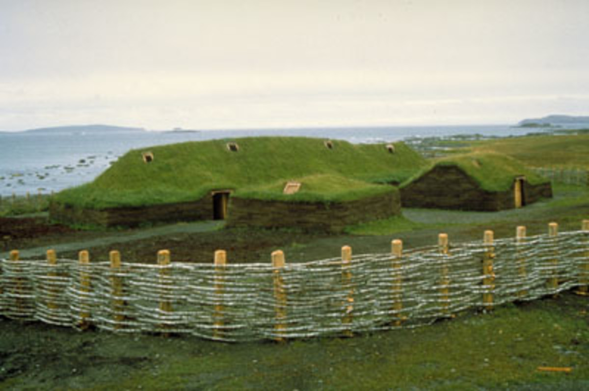 The reconstructed settlement at L'Anse-aux-Meadows  , established by the Vikings in Newfoundland.