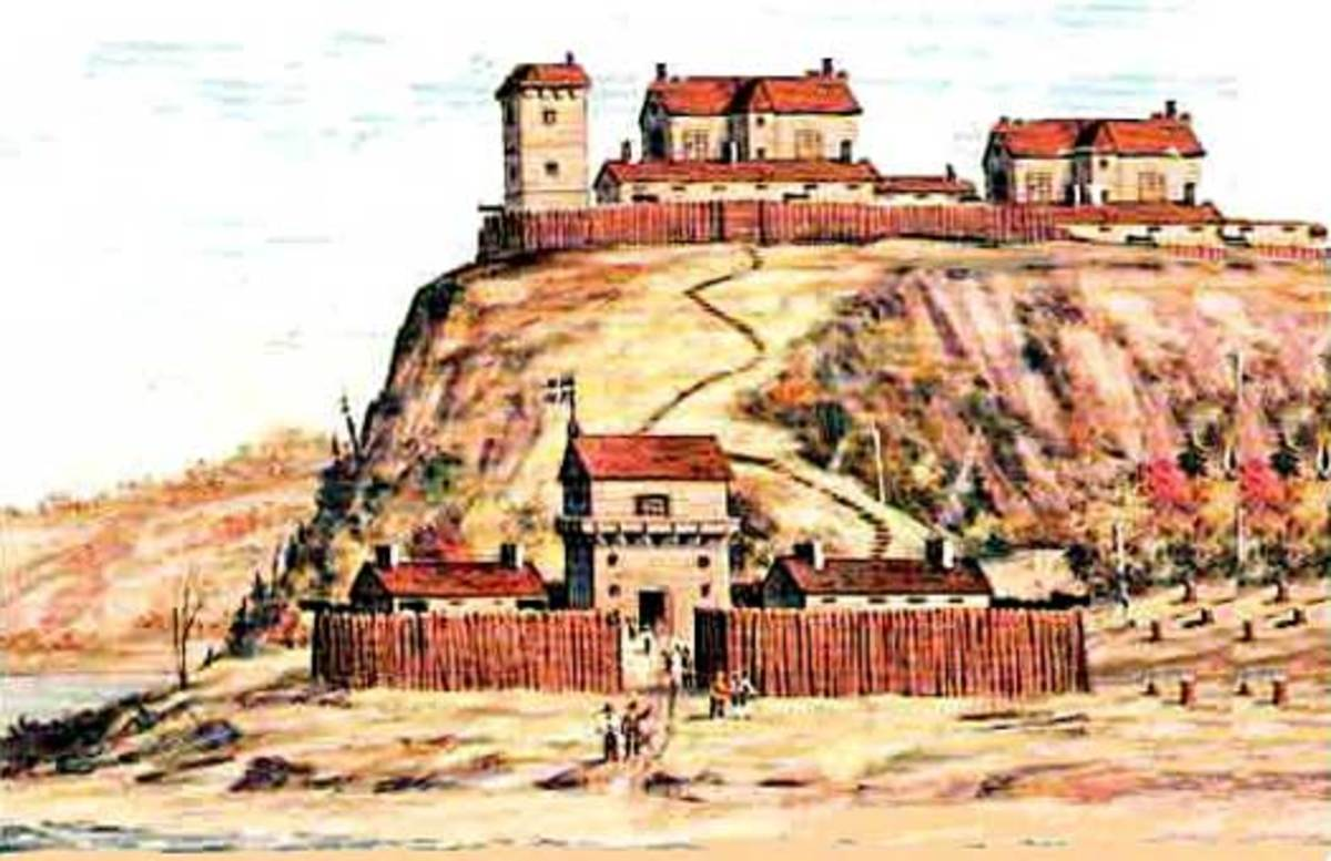 Artist depiction of Charlesbourg-Royal, the first settlement of New France (Quebec)