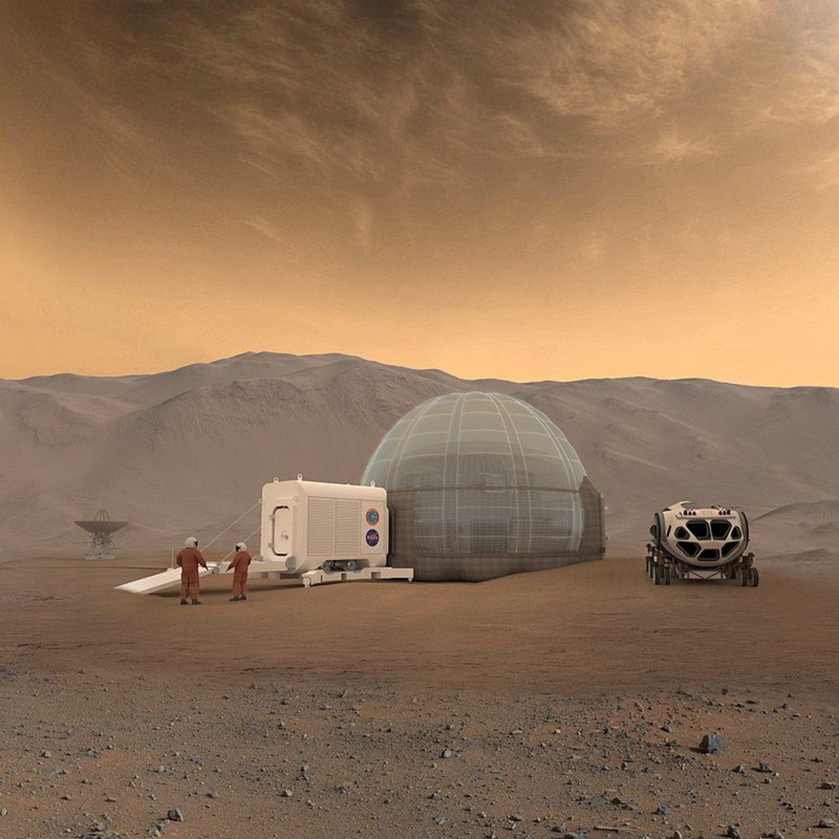 Artists rendering of what a future Mars mission might look like