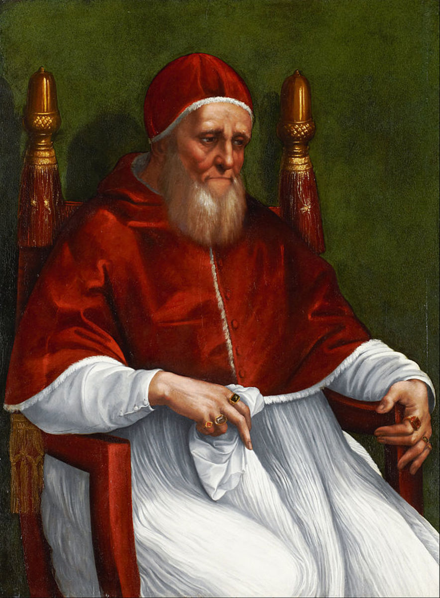 Julius II made to look benign and pious.