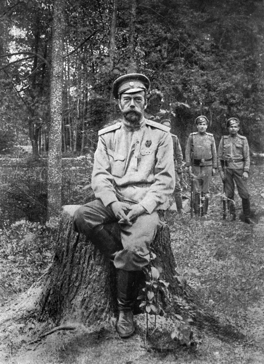 One of the last known images of Tsar Nicholas II, after his abdication of the throne in 1917.  Notice his weathered appearance in comparison to prior years.