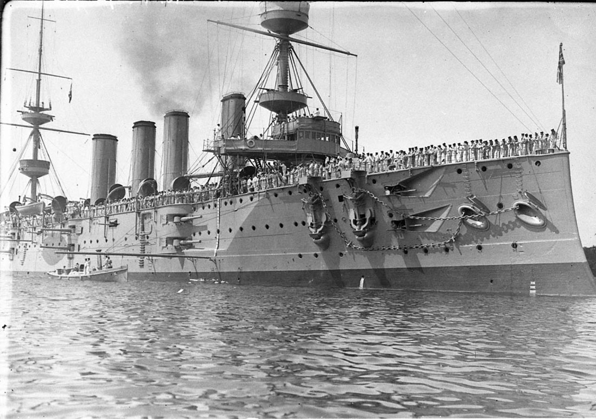 HMS Powerful was assigned to the Cape Station at the stary of hostilities - its cre members would participate in the eary days of the war.