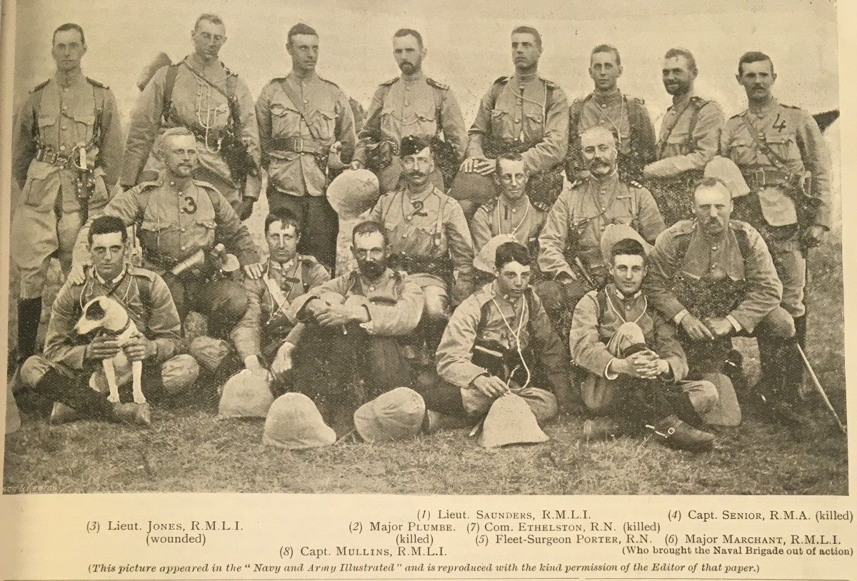 Some of the officers of the Naval Brigade before Graspan - some of them would be killed in the battle
