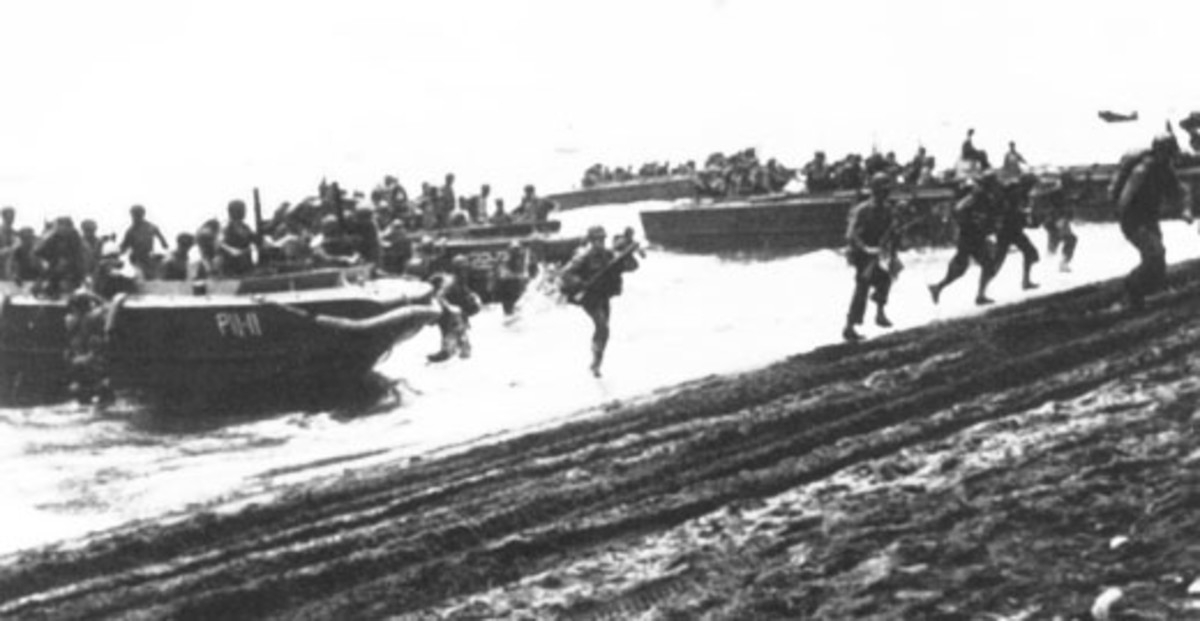 Marines making an amphibious assault.