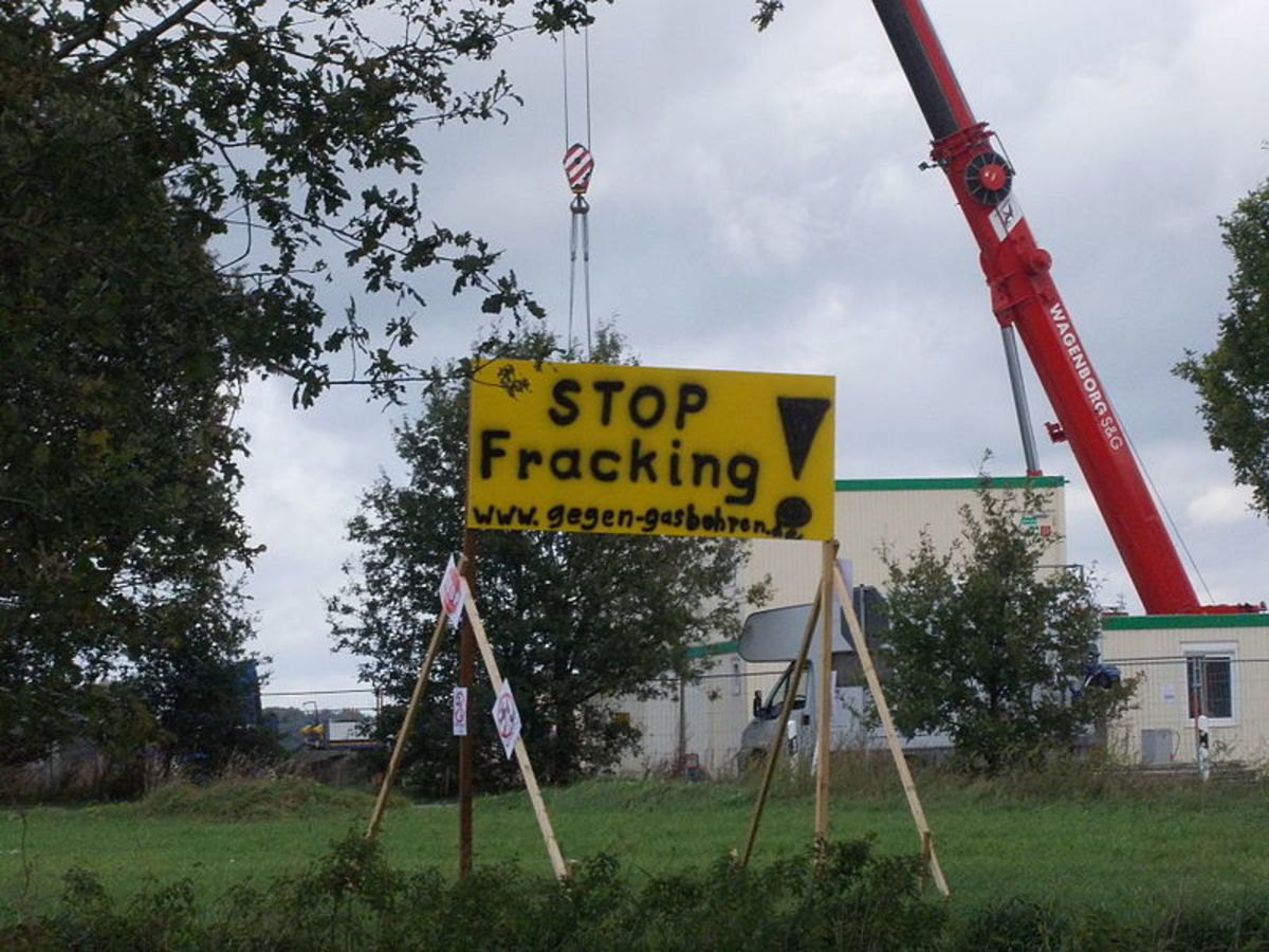 Anti-fracking sign.