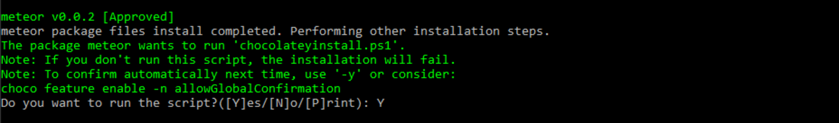 Confirm that you want Chocolatey to install...