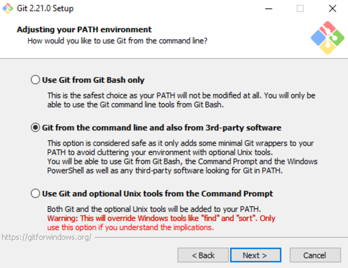 Select the middle option to be able to run Git from the command line and other software.
