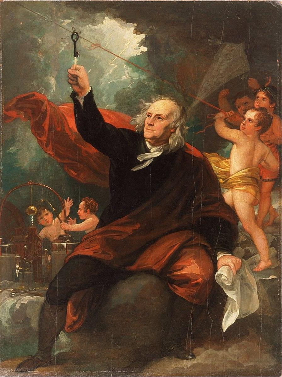 Depiction of Benjamin Franklin harnessing the power of lightning.