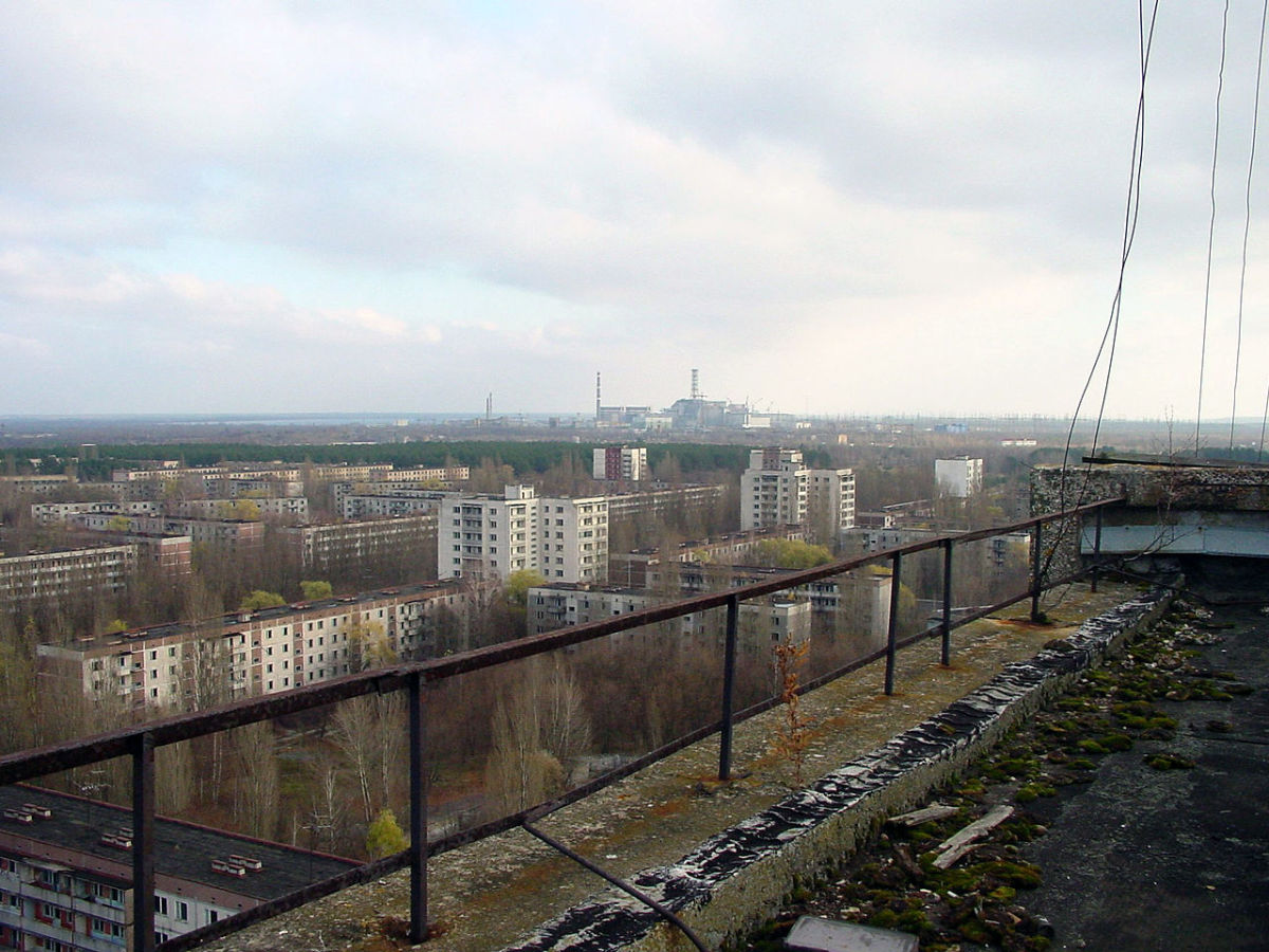 View of Chernobyl from nearby Pripyat.