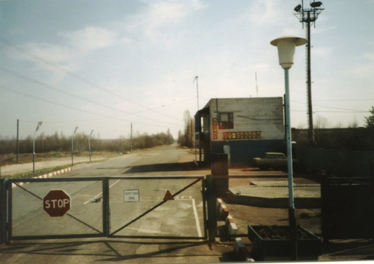 Military checkpoint leading into the exclusion zone around Chernobyl.