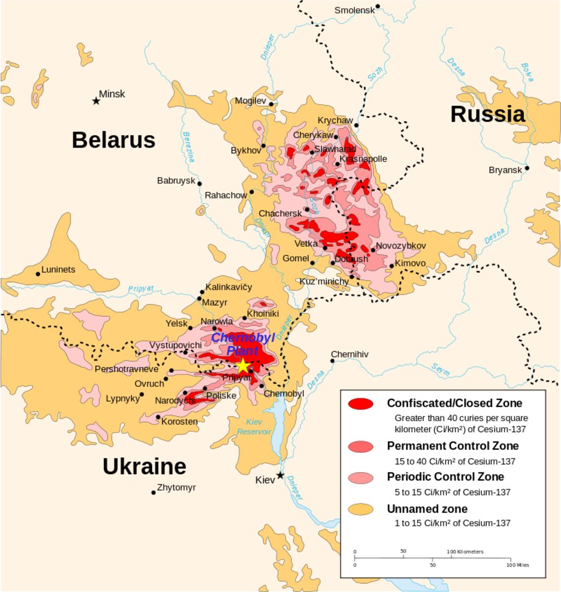 Map of Chernobyl's Radiation Zones. Notice how pockets of radiation were carried away from ground zero.