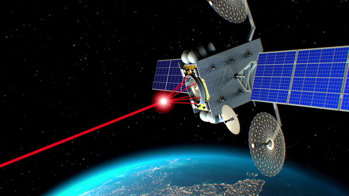 Concept art of a satellite armed with laser.