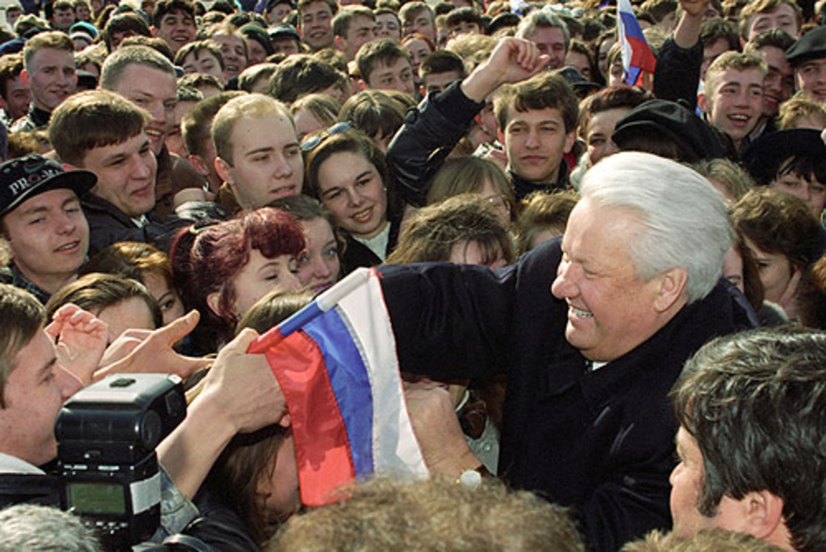 Yeltsin attending an election rally in 1996.