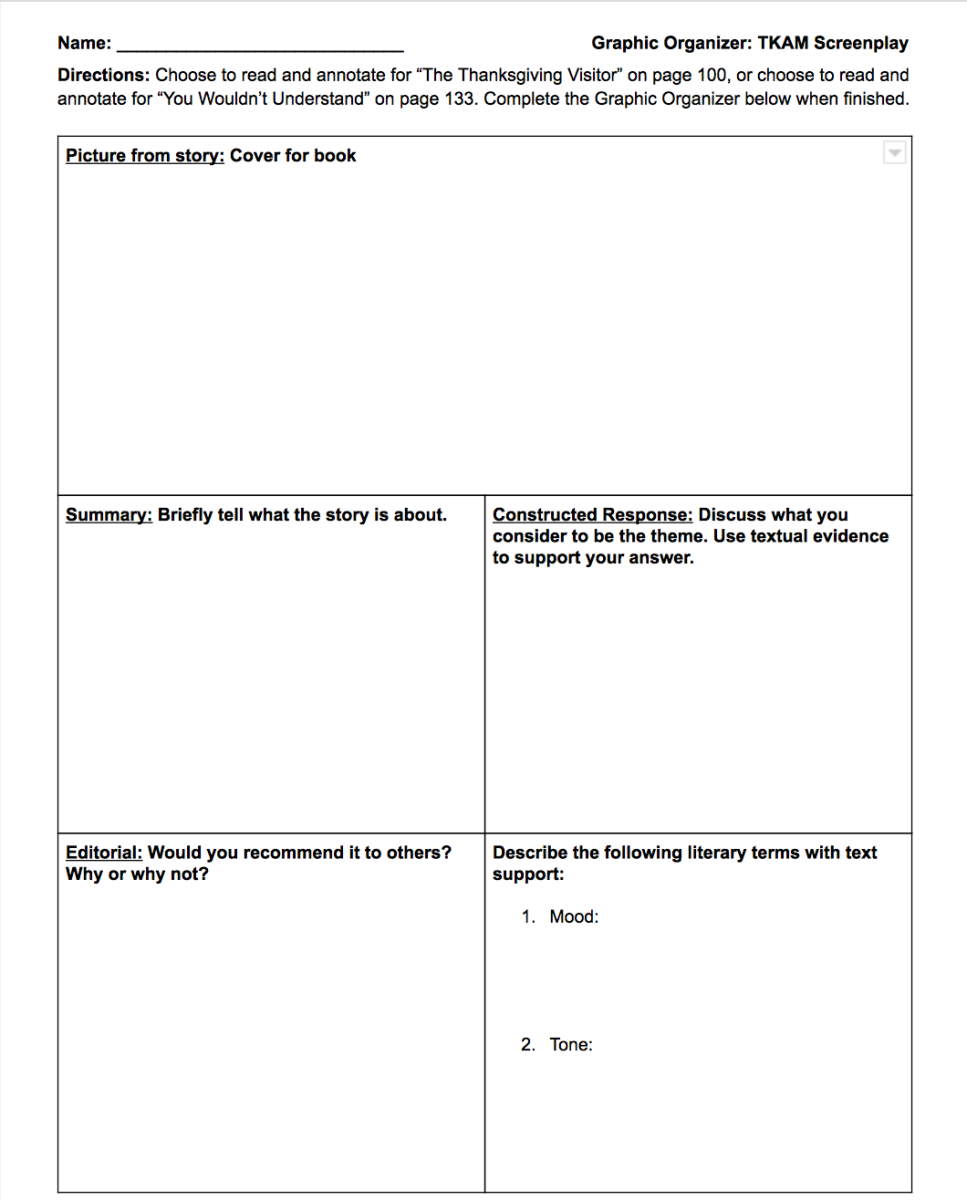 A graphic organizer that I will adapt and use if needed on the spot.