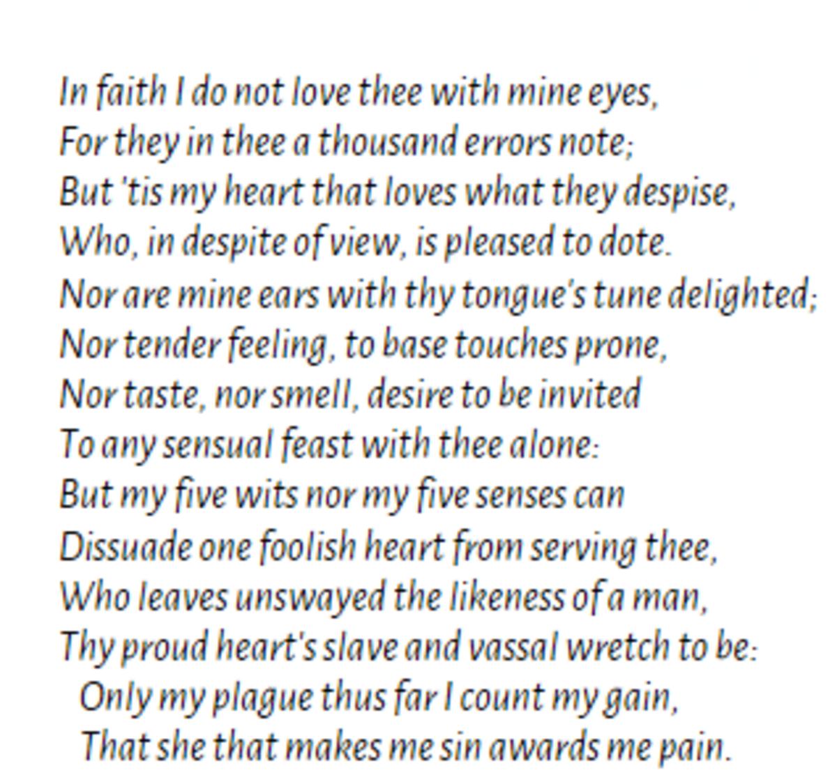 Shakespeare's Sonnet 141
