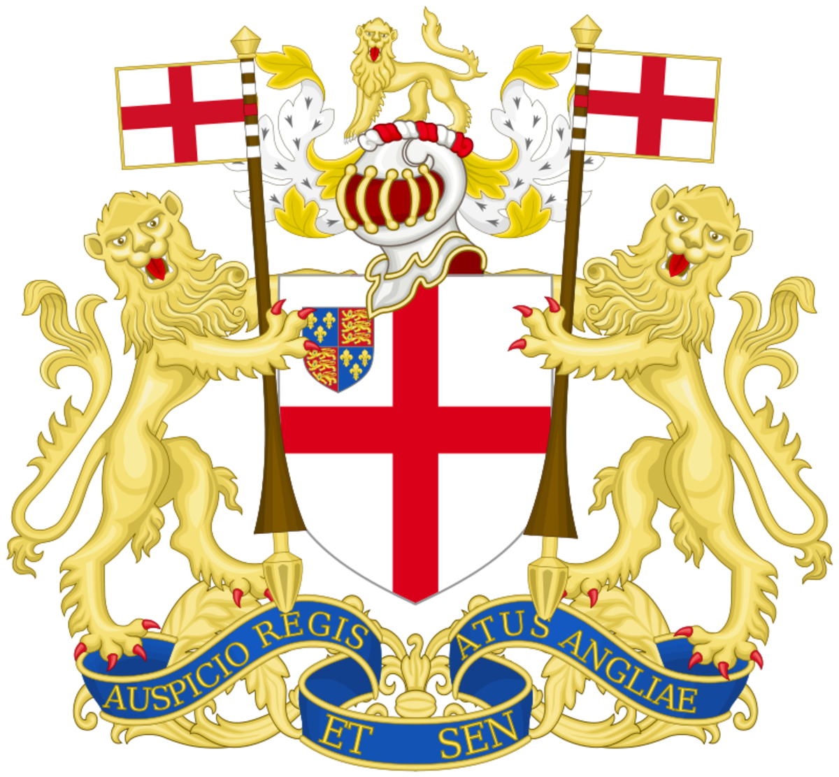 """The coat of arms of the East India Company. The motto reads """"By the authority of the King and Parliament of England."""""""