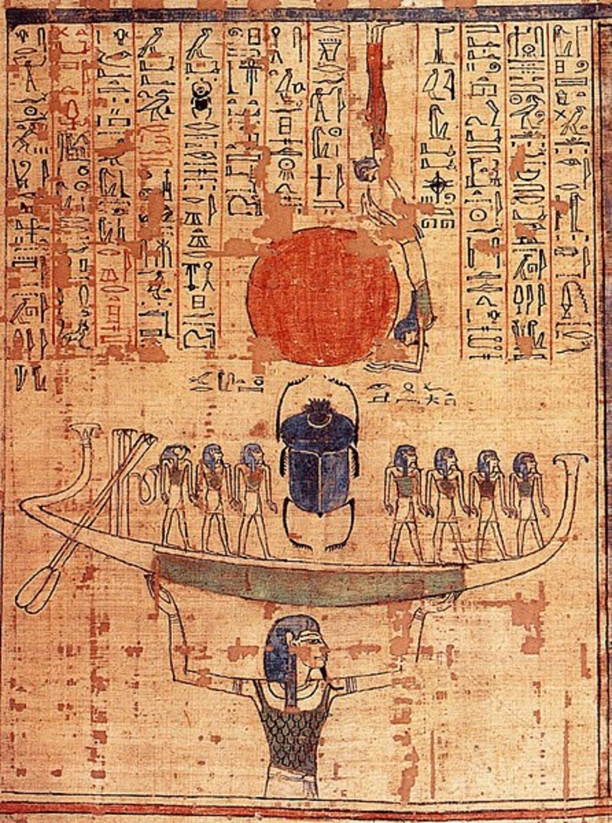 Nun raises up the sun (fiery hill of creation) - although Nun is depicted and personified as a man, no temples or priests were dedicated to him, as he was viewed as a creative force rather than a god.