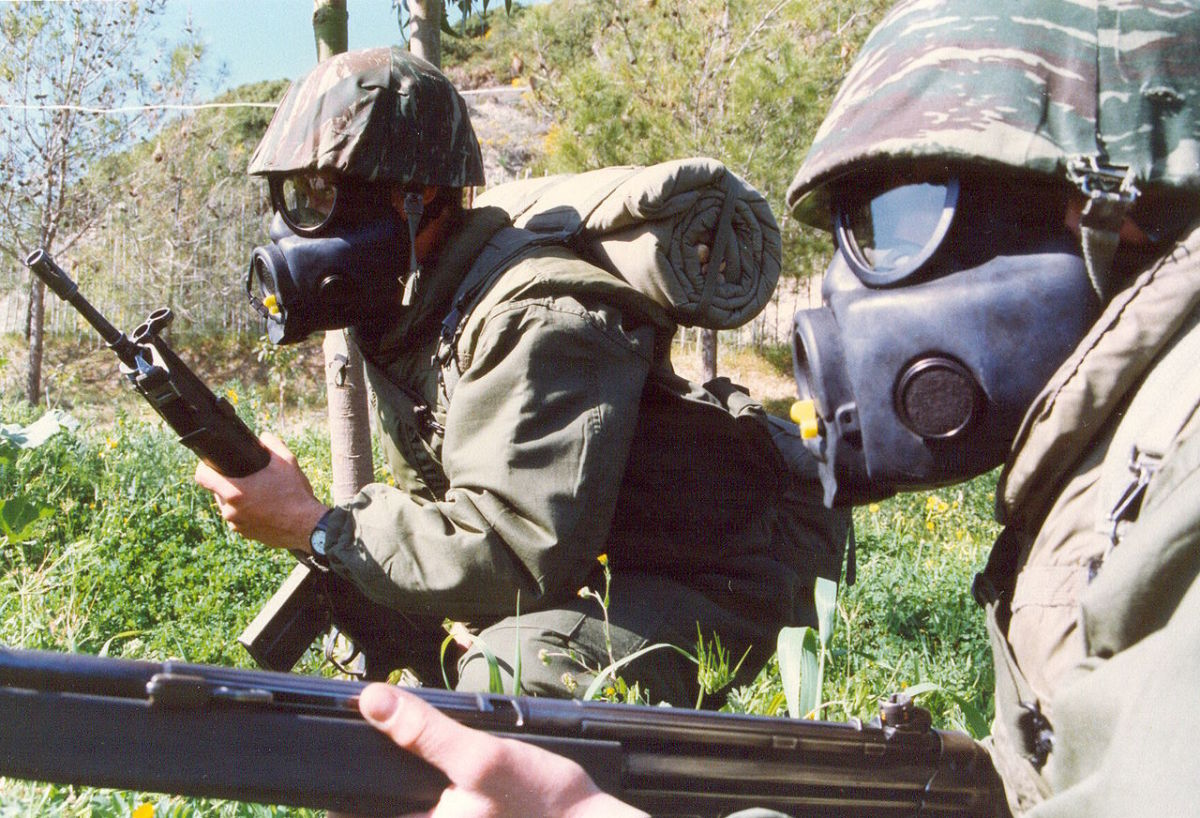 M17 Gas Mask - utilized by Greek military (pictured above).