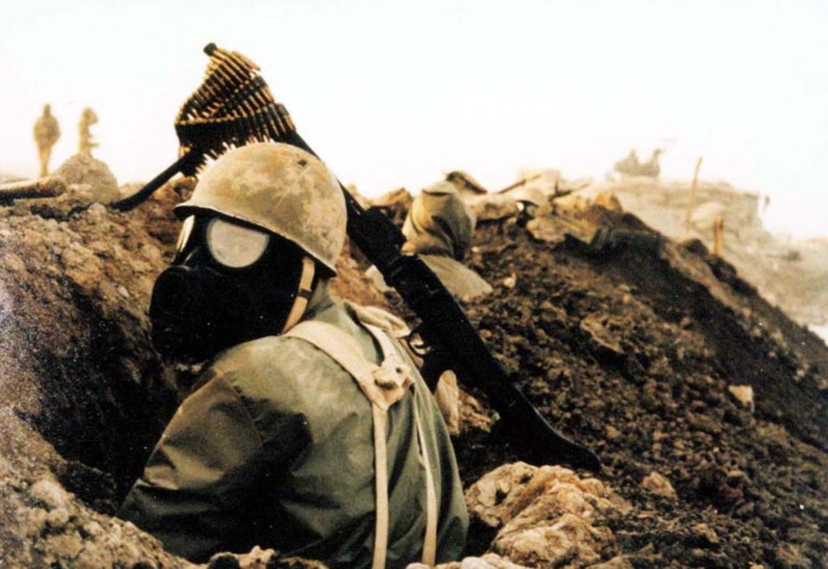 Iranian soldier prepares for gas attack. Chemical weapons were used heavily by Iran and Iraq during the 1980s.
