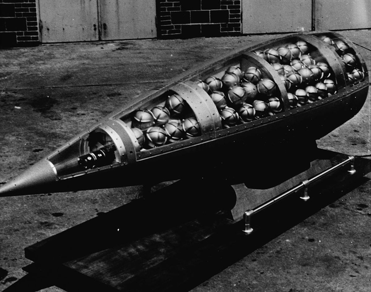 Pictured here is an American warhead (from a missile) containing sarin canisters.