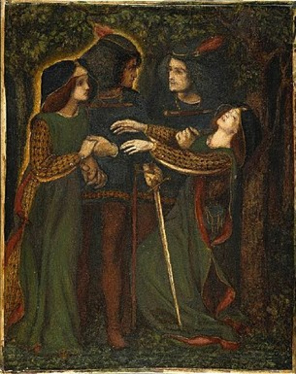 In the mid-19th century D. G. Rossetti created this image of medieval doppelgangers meeting causing one of them to swoon.