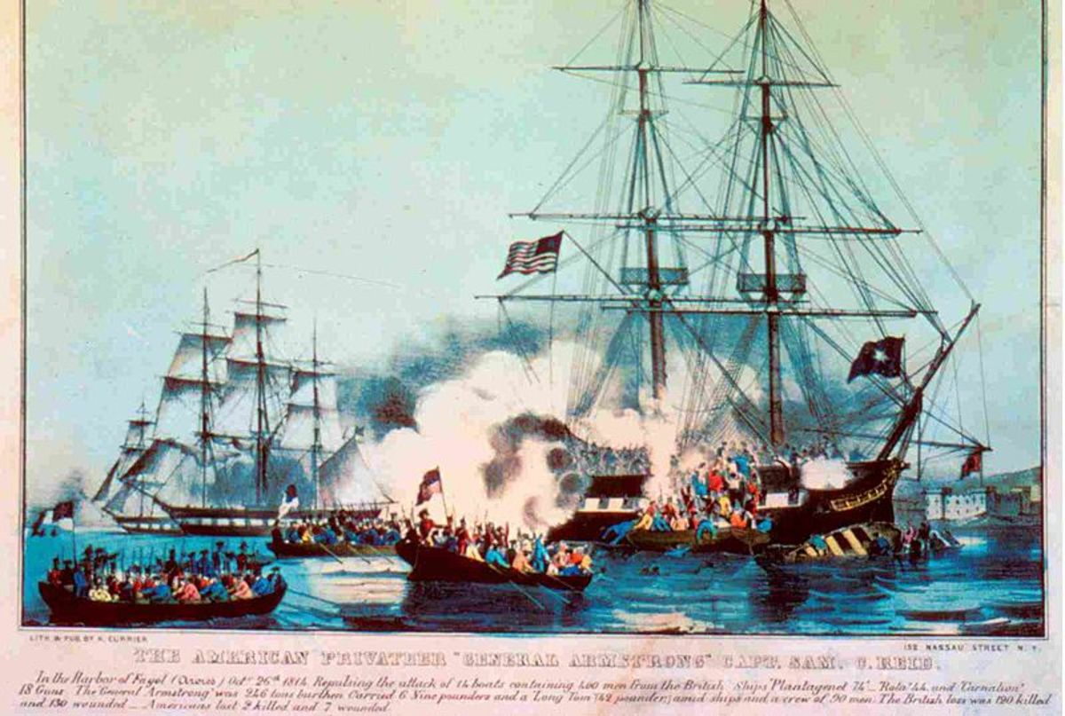 An American privateer in action.