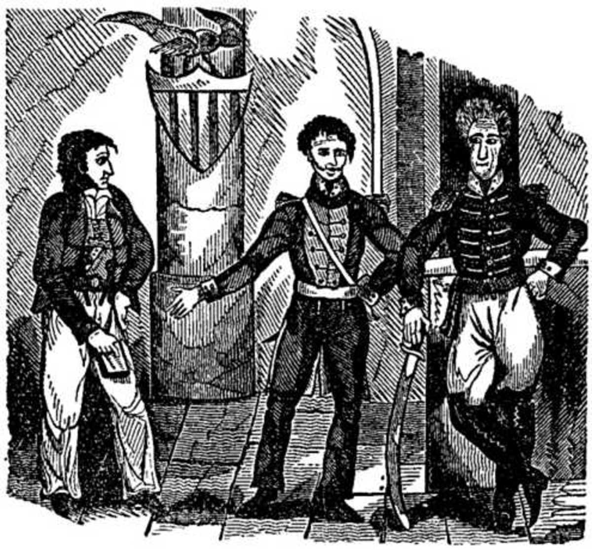 Twenty years after the event, an engraver imagines a meeting among (left to right) Jean Lafitte, Louisiana Governor William Claiborne, and General Andrew Jackson.
